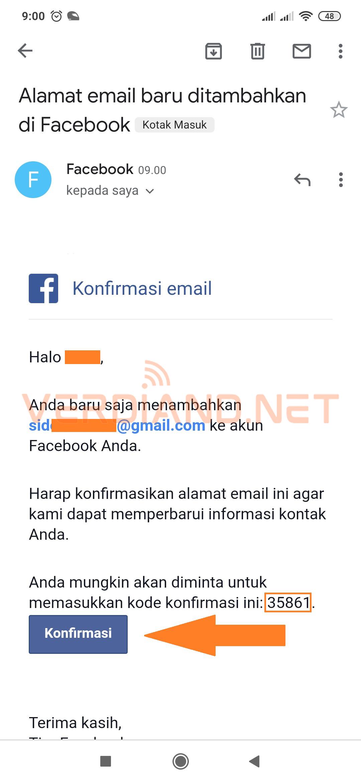 facebook konfirmasi